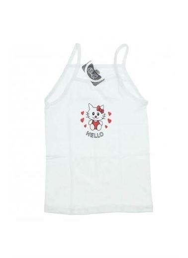 Gms Gümüş 3028 Kız İp Askılı Baskılı Atlet Kız Çocuk Giyim Beyaz